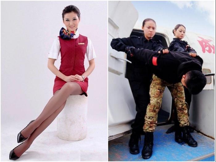 Бортпроводниц Китая обучают не только красиво и правильно сидеть, но и обезвреживать дебоширов или террористов. | Фото: cyberspaceandtime.com.