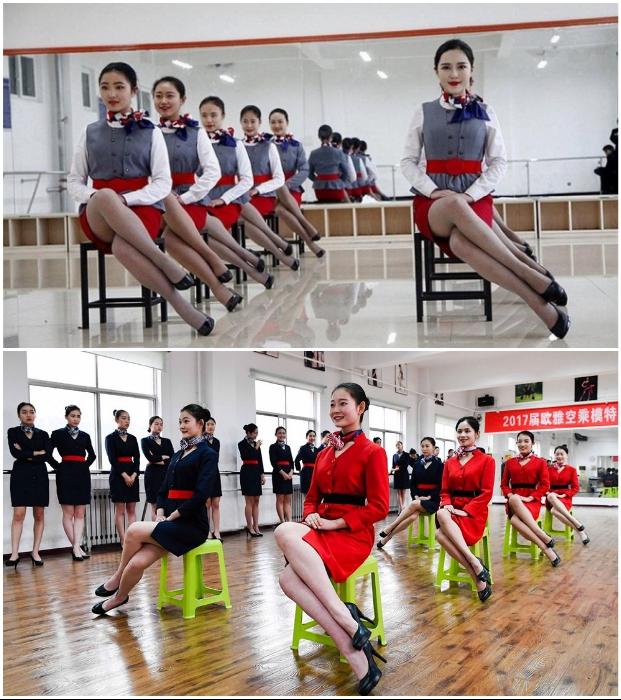 Полетный этикет регламентирует лишь такую позу при сидении стюардесс. | Фото: cyberspaceandtime.com/bodyguards.com.ua.