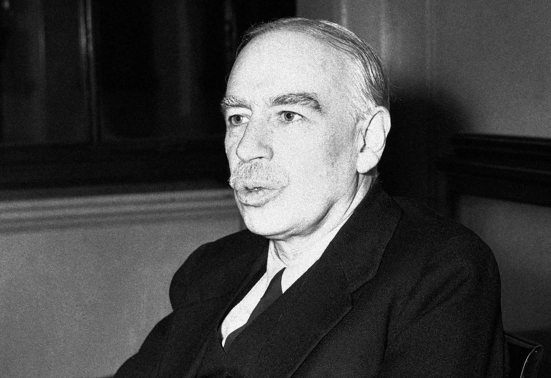 John Maynard Keynes in his office at the Treasury in London on Aug. 25, 1945. (AP)