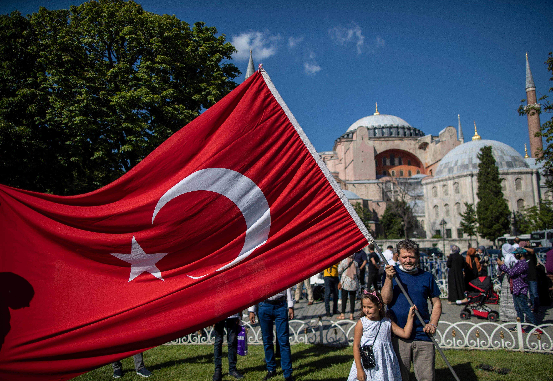 People celebrate outside Hagia Sophia in Istanbul on July 12. (Erdem Sahin/EPA-EFE/Shutterstock)
