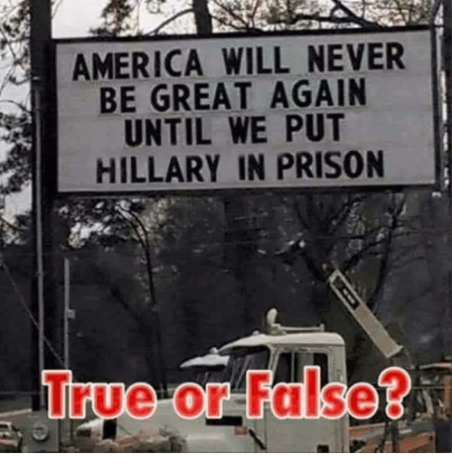 America, Memes, and True: AMERICA WILL NEVER BE GREAT AGAIN UNTIL WE PUT HILLARY IN PRISON True or False?