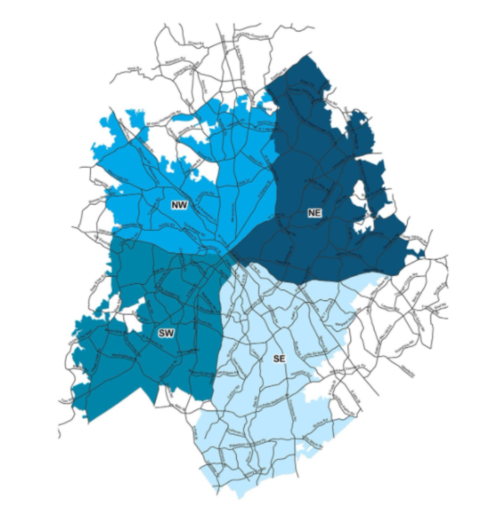 map of the service area teams in different shades of blue (NW, NE, SE, SW)