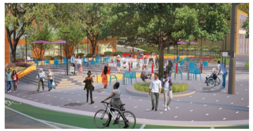 rendering of the new plaza showing colorful seating, people walking and biking