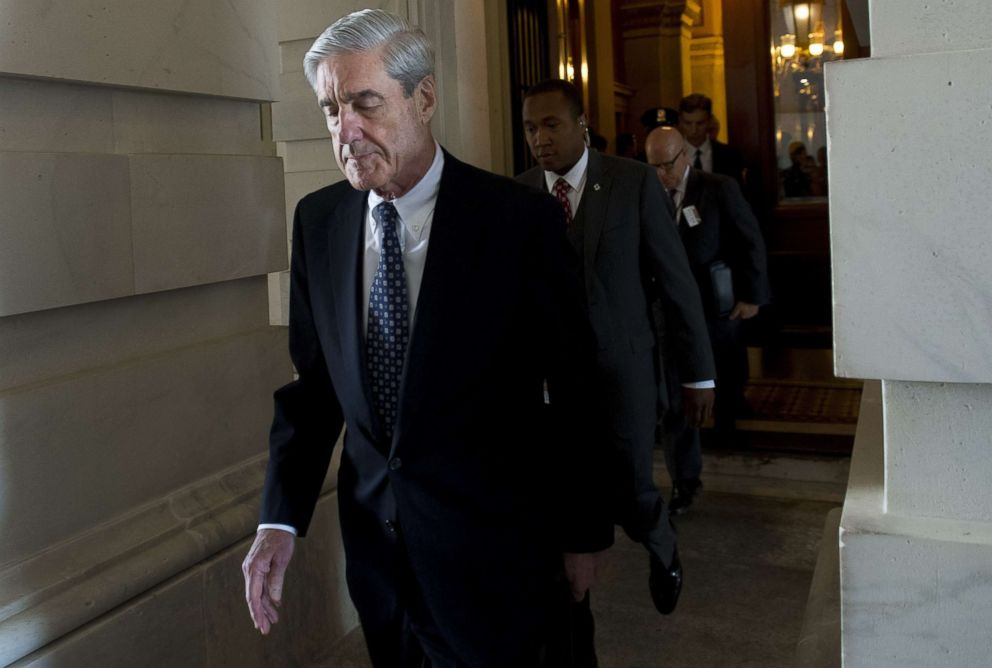 Former FBI Director Robert Mueller, special counsel on the Russian investigation, leaves following a meeting with members of the US Senate Judiciary Committee at the US Capitol in Washington.