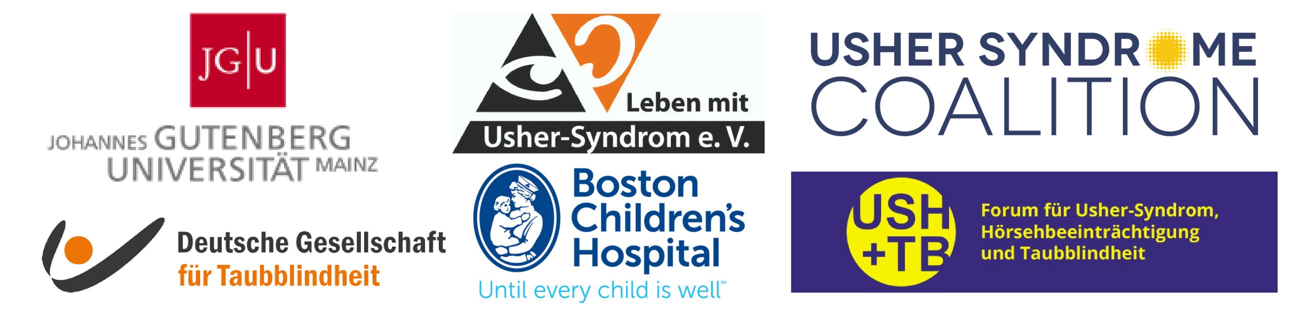 USH2018 Partner logos: Johannes Gutenberg Universitat Mainz, Deutsche Gesellschaft fur Taubblindheit, Boston Children's Hospital, Usher Syndrome Coalition, Leben mit Usher-Syndrom e.V., USH+TB Forum fur Usher-syndrom, Horsehbeeintrachtigung und Taubblindhelt