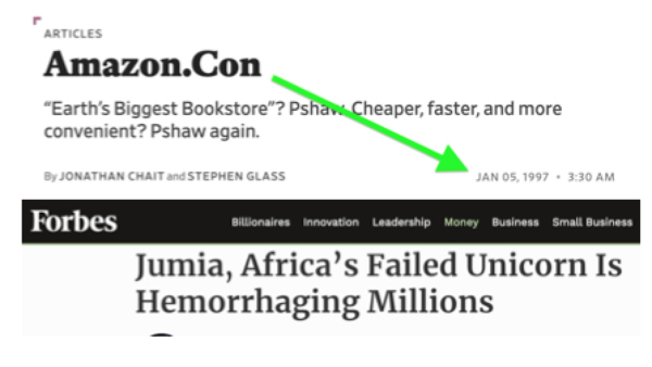 Jumia's recent challenges resemble Amazon's issues in the 90s