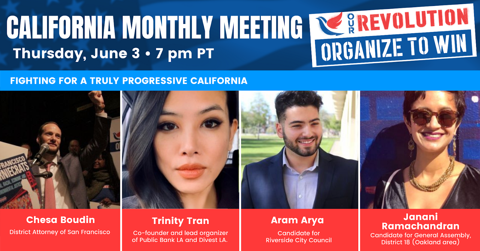Our Revolution California's monthly meeting @ Online