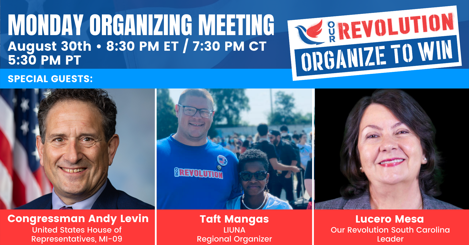 Our Revolution Monday Night National Organizing Phone Call @ Online