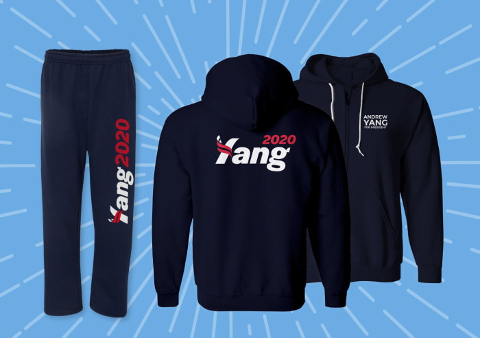 "Sweatpants and zip up hoodie with Yang2020 logo. On front of hoodie, left side ""Andrew Yang for President"""