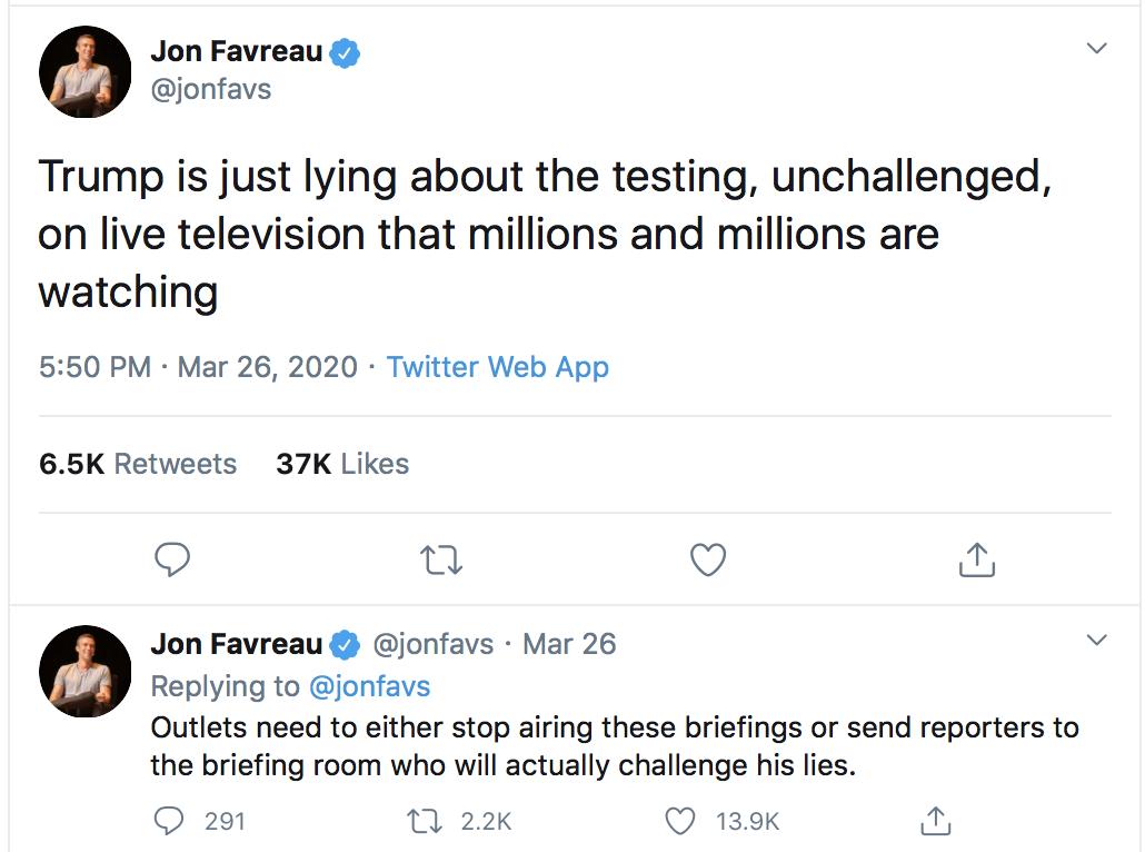 turn on images to see Favreau tweet
