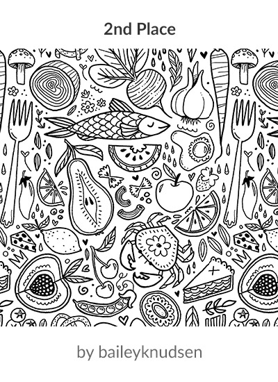 2nd place in the Food Frenzy Lake Coloring Book design challenge: baileybatart