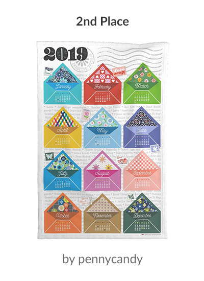 2nd place in the 2019 Tea Towel Calendar design challenge: pennycandy