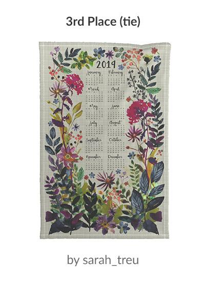 3rd place in the 2019 Tea Towel Calendar design challenge: sarah_treu