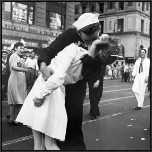 'Kissing the War Goodbye in Times Square, 1945, II' by Victor Jorgensen Framed Photographic Print