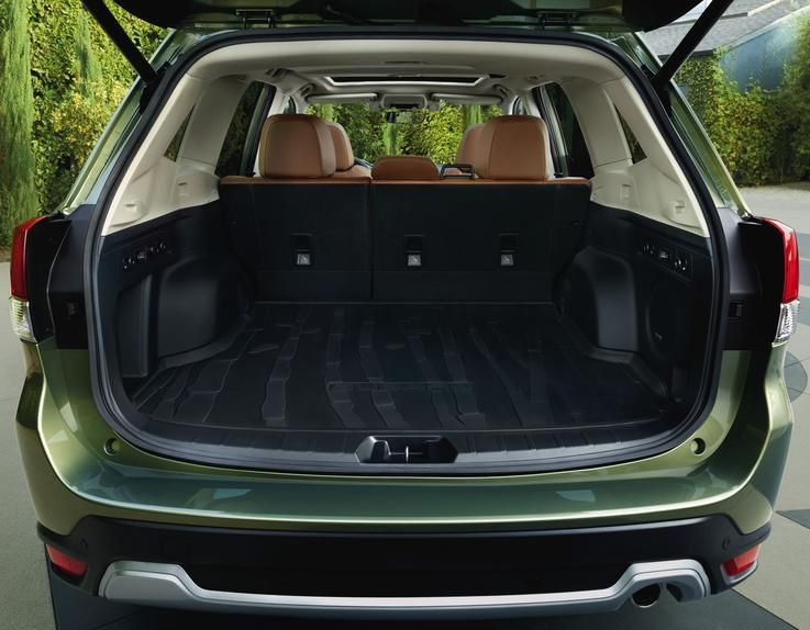 OPEN FOR BUSINESS The family friendly Forester has            a  max cargo capacity of 70.9 cubic feet with the seats            folded  down.