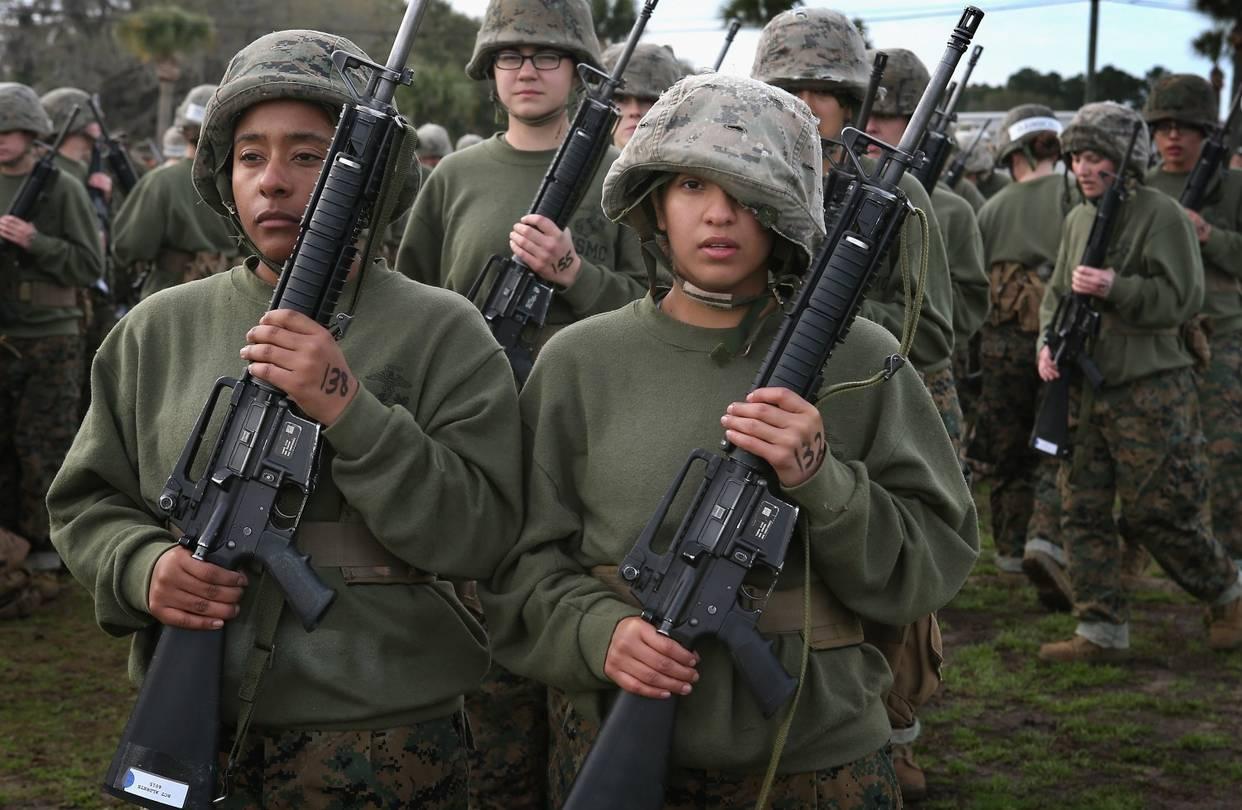Female Marine recruits in boot camp in Parris                  Island, S.C., Feb. 27, 2013.