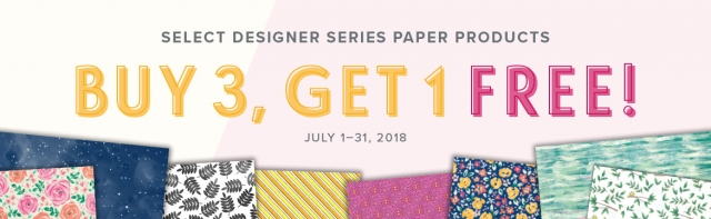 Buy 3 Get 1 Free Designer Series Paper Sale July 1-31, 2018! Click here for details…#stampyourartout #stampinup - Stampin' Up!® - Stamp Your Art Out! www.stampyourartout.com
