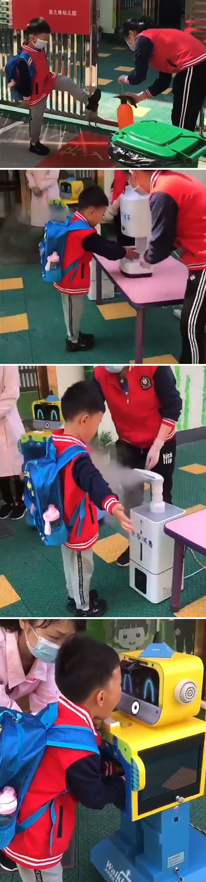 Chinese Student Returning To School, Someone First Sprays Disinfectant On Shoes, Then Sanitizes Hands, Spray Sterilizes His Clothes And Backpack And A Robot Scans His Eyes, Hands, And Throat
