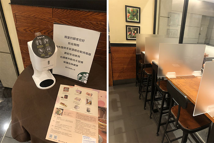 Starbucks In Taipei, Taiwan, Customers Are Greeted With An Automatic Hand Sanitizer, And Shared Tables Are Sectioned Off With Dividers