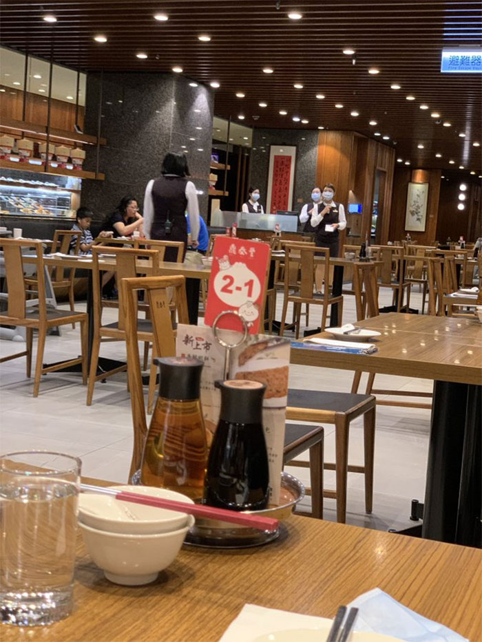 In Kaohsiung, Taiwan, Din Tai Fung Makes Tables 5 Feet Apart(As Required By Law). Staffs Wear Surgical Masks The Whole Time To Prevent Aerosol Spreading