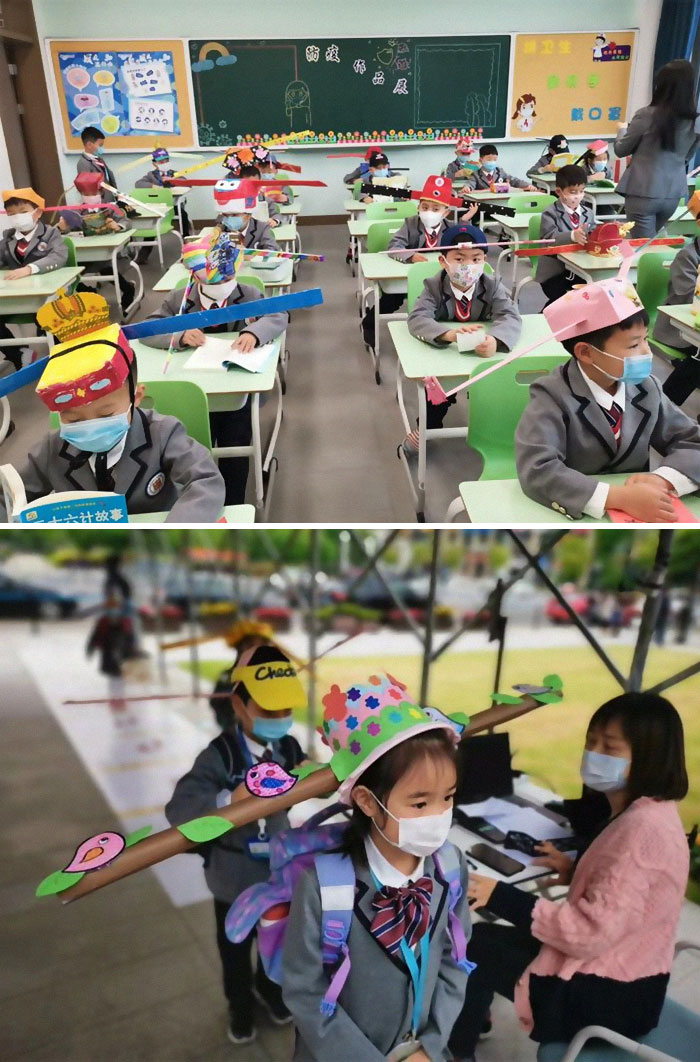 """Students At Yangzheng Primary School In Hangzhou Wear DIY """"One-Meter Hats"""" On The First Day Of The New Semester. The Headmaster Said The Initiative Aims To Help Students Get Accustomed To Social"""