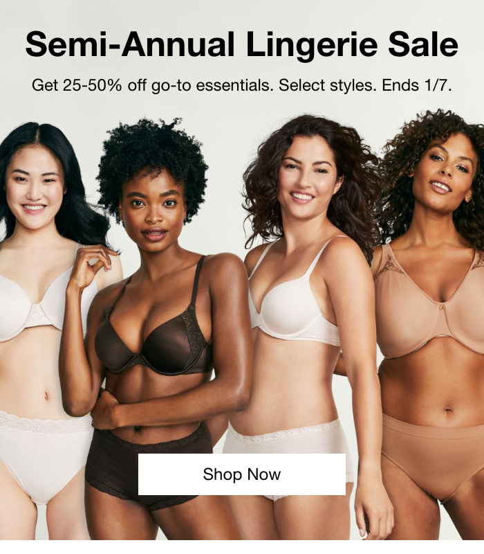 Semi-Annual Lingerie Sale, Get 25-50% Off Go-To Essentials, Select Styles, Ends 1/7.Shop Now