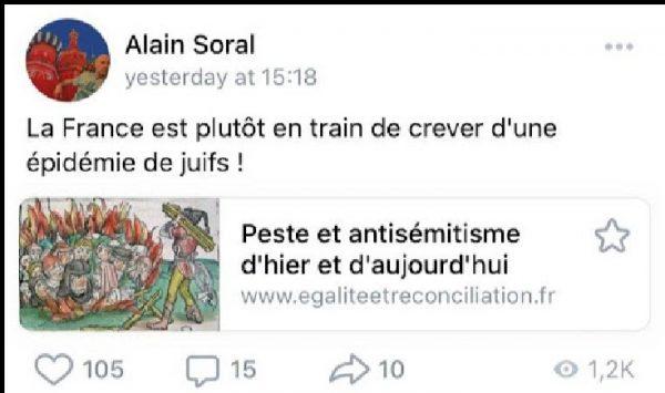 """Pour le nazi décérébré Soral """"la France est en train de crever d'une épidémie de juifs !"""""""