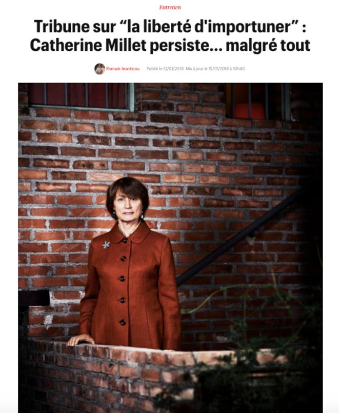 Entretien avec Catherine Millet publié dans « Télérama » le 12 janvier 2018.