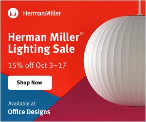 Save 15% during the Herman Miller Lighting Sale! (Valid 10/3/19 - 10/17/19)