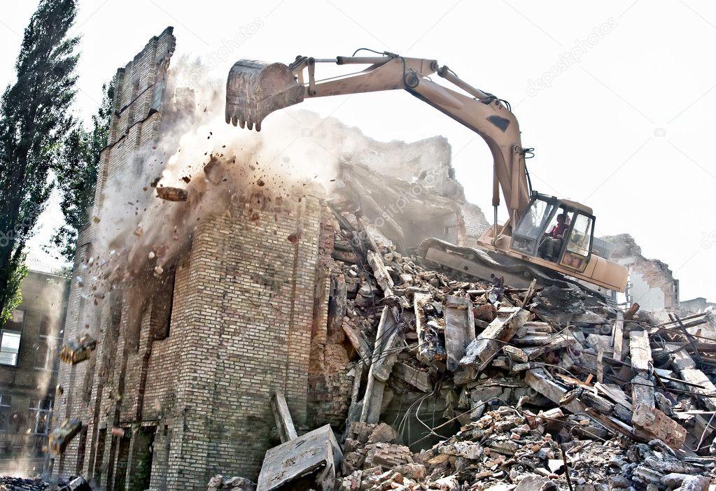 Démolition de l'ancien bâtiment — Photo