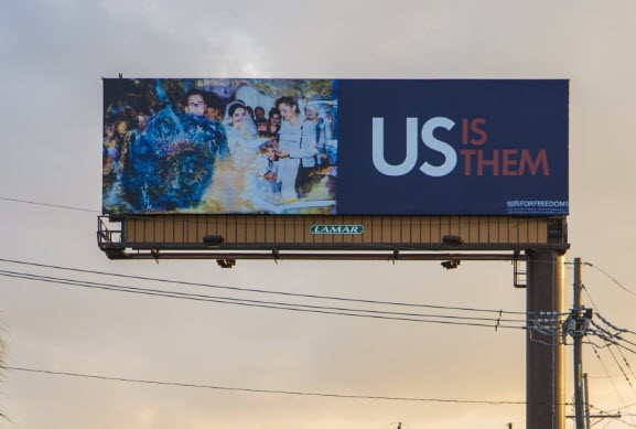 "Photo of a billboard artwork, part of the ""For Freedoms"" national initative"