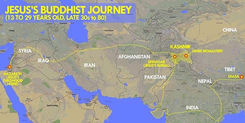 Bản đồ hành trình của Chúa Jesus từ năm 13 đến 29 tuổi. (Ảnh qua Caak News)
