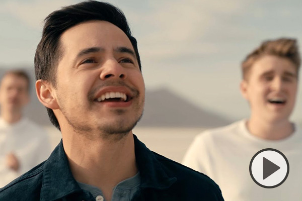 David Archuleta smiles and sings with BYU Vocal Point on the salt flats in this music video collab.