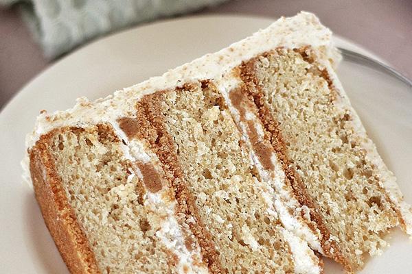 A closeup of a slice of Graham Slam Cake by Courtney.