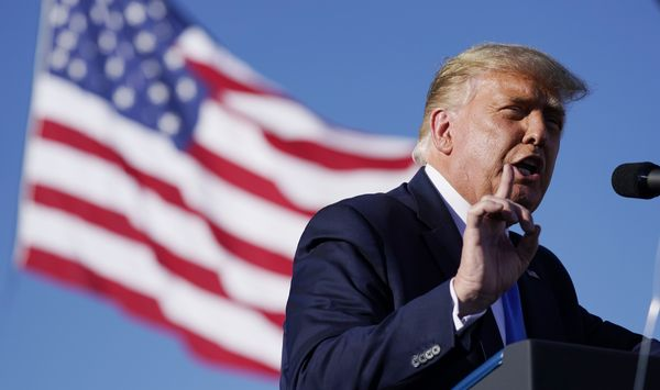 President Donald Trump speaks at a campaign rally at Carson City Airport, Oct. 18, 2020, in Carson City, Nev. (AP Photo/Alex Brandon)