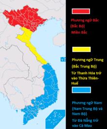 Bản đồ phân bố 3 vùng phương ngữ chính của tiếng Việt tại Việt Nam.