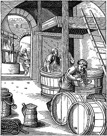 Một nhà máy làm bia vào thế kỷ 16