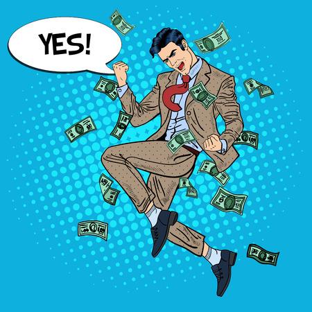 Pop Art homme d'affaires prospère sautant avec bulle de dialogue comique Oui dans Tomber de l'argent. Illustration vectorielle Banque d'images - 64372399