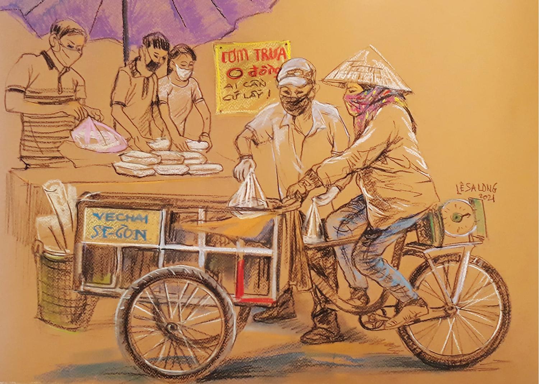 Khi thnành phố giãn cách, những gian hàng 0 đồng bỗng xuất hiện khắp nơi, hướng đến đối tượng lao động nghèo, bị mất thu nhập mùa dịch. Họa sĩ Lê Sa Long chọn vẽ khung cảnh đó để khắc họa tính hào hiệp của người Sài Gòn. Với anh, Sài Gòn là vùng đất của những người bộc trực, hào sảng, những thùng trà đá miễn phí, thùng bánh mì ai cần cứ lấy, những hiệp sĩ bắt cướp, quán cơm 2.000 đồng, chuyến xe nhân ái, những giao dịch đưa nhiêu đưa, những ATM gạo...