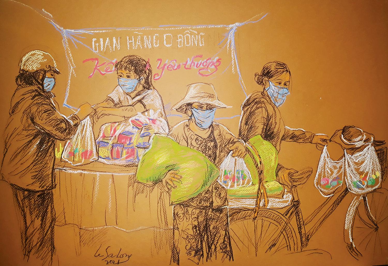 Đa số tranh họa sĩ chọn hình thức ký họa bằng phấn tiên (pastel) trên nền giấy Canson, một số bức dùng màu nước.