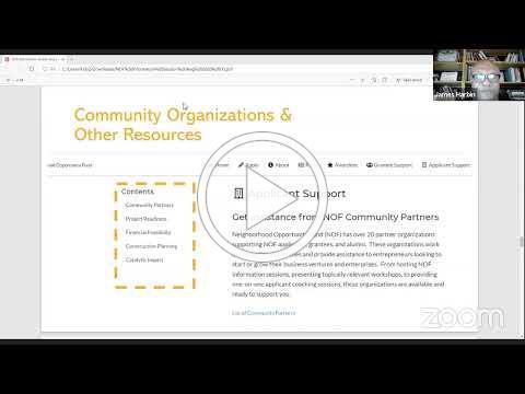 Neighborhood Opportunity Fund Informational Webinar: Aug. 27, 2020