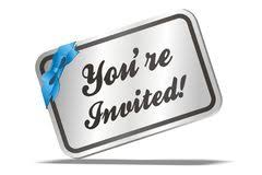 Your Invited - card-blue ribbon - clipart