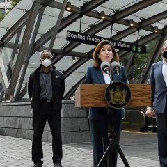 Governor Hochul holds a briefing with MTA officials in NYC
