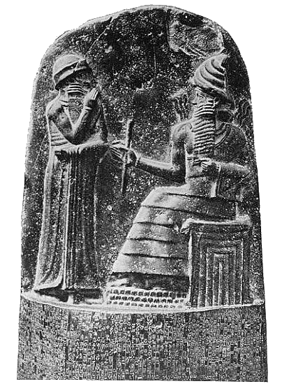 Shamash, god of Justice in Babylon, as handing symbols of authority to Hammurabi. Shamash corresponds to Sumer's god of Justice, Utu. Public domain, via Wikimedia Commons