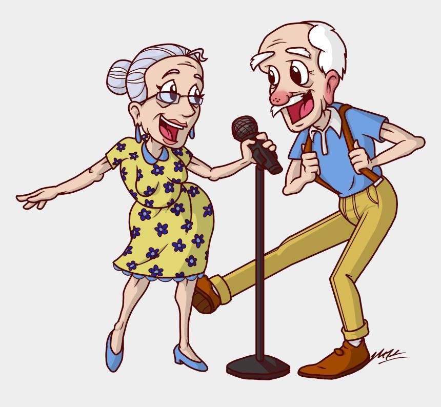 Snowbird Karaoke Couple - Cartoon Old Age, Cliparts & Cartoons - Jing.fm