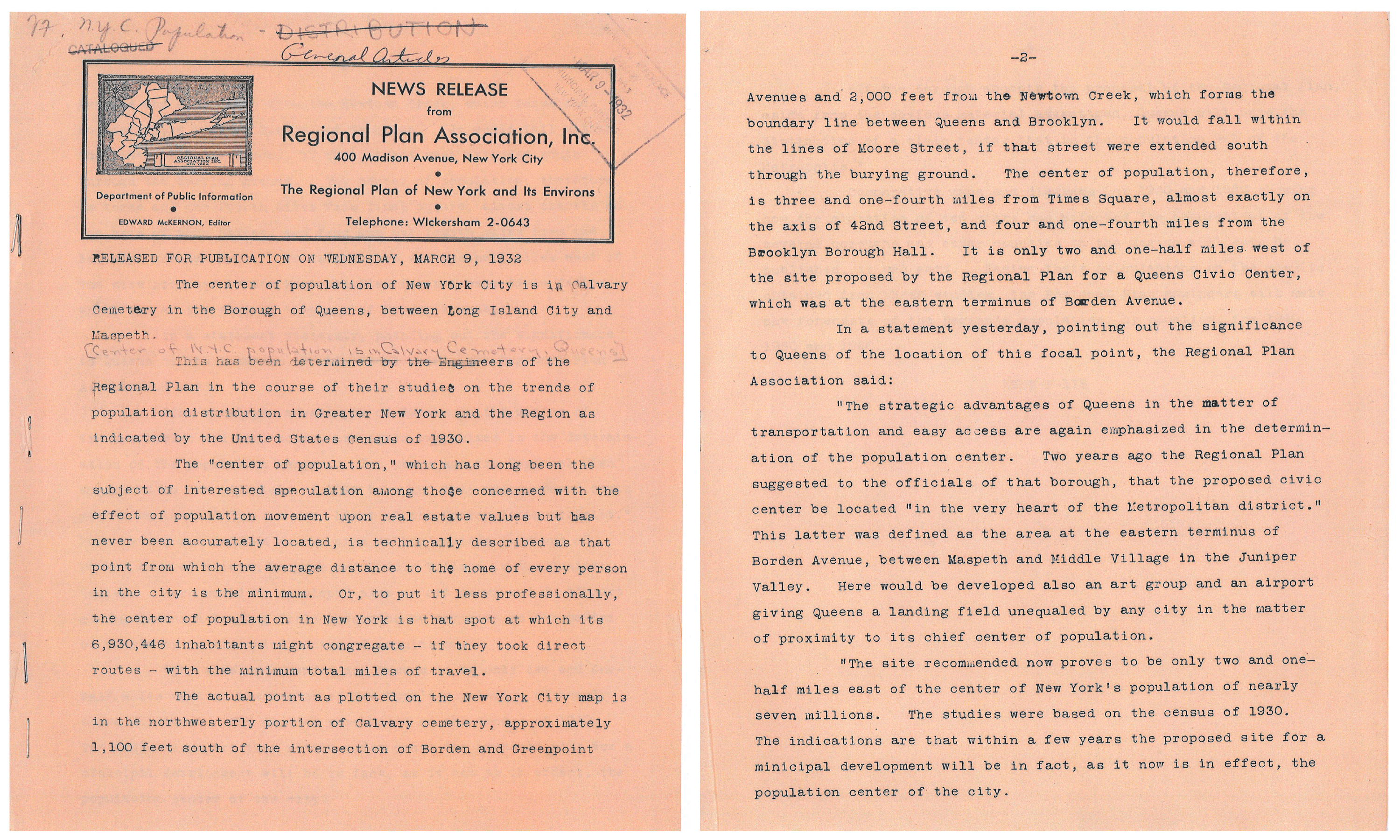 A scanned archived page of a News Release from Regional Plan Association, Inc. The page is dated Wednwsday, March 9, 1932