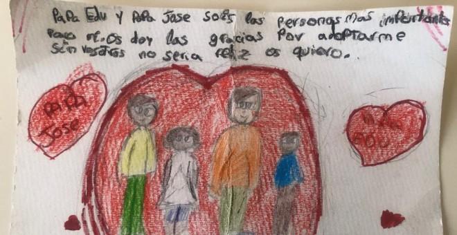 Dibujo realizado por los hijos de Eduardo Aguayo, en el que agradecen a sus padres haberles adoptado.