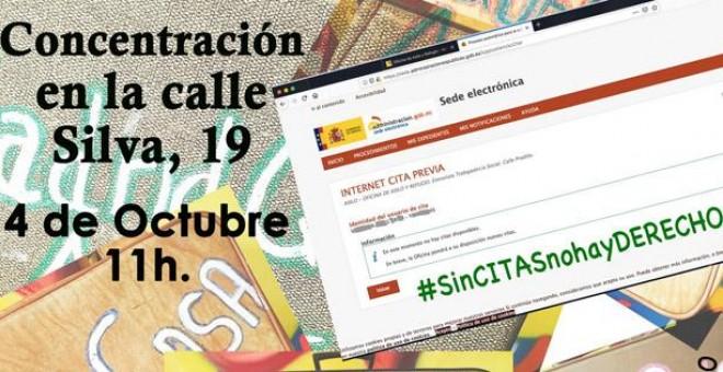 Cartel de la concentración ante las dependencias del Área de Trabajo e Inmigración bajo el lema 'Sin citas no hay derechos'.