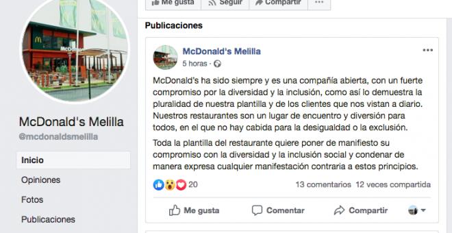 McDonald's publicó el viernes un comunicado en su perfil de Facebook - R.S.
