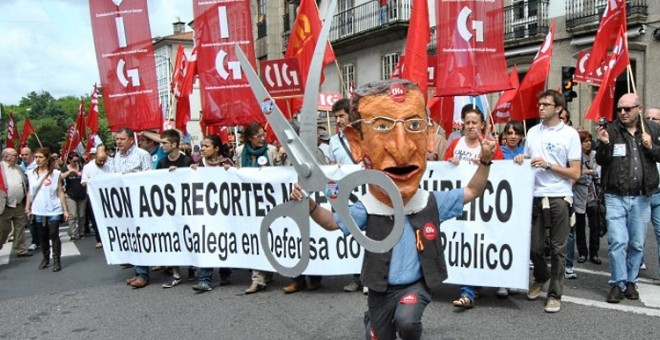 Una manifestación contra los recortes de Feijóo en educación. /CIG